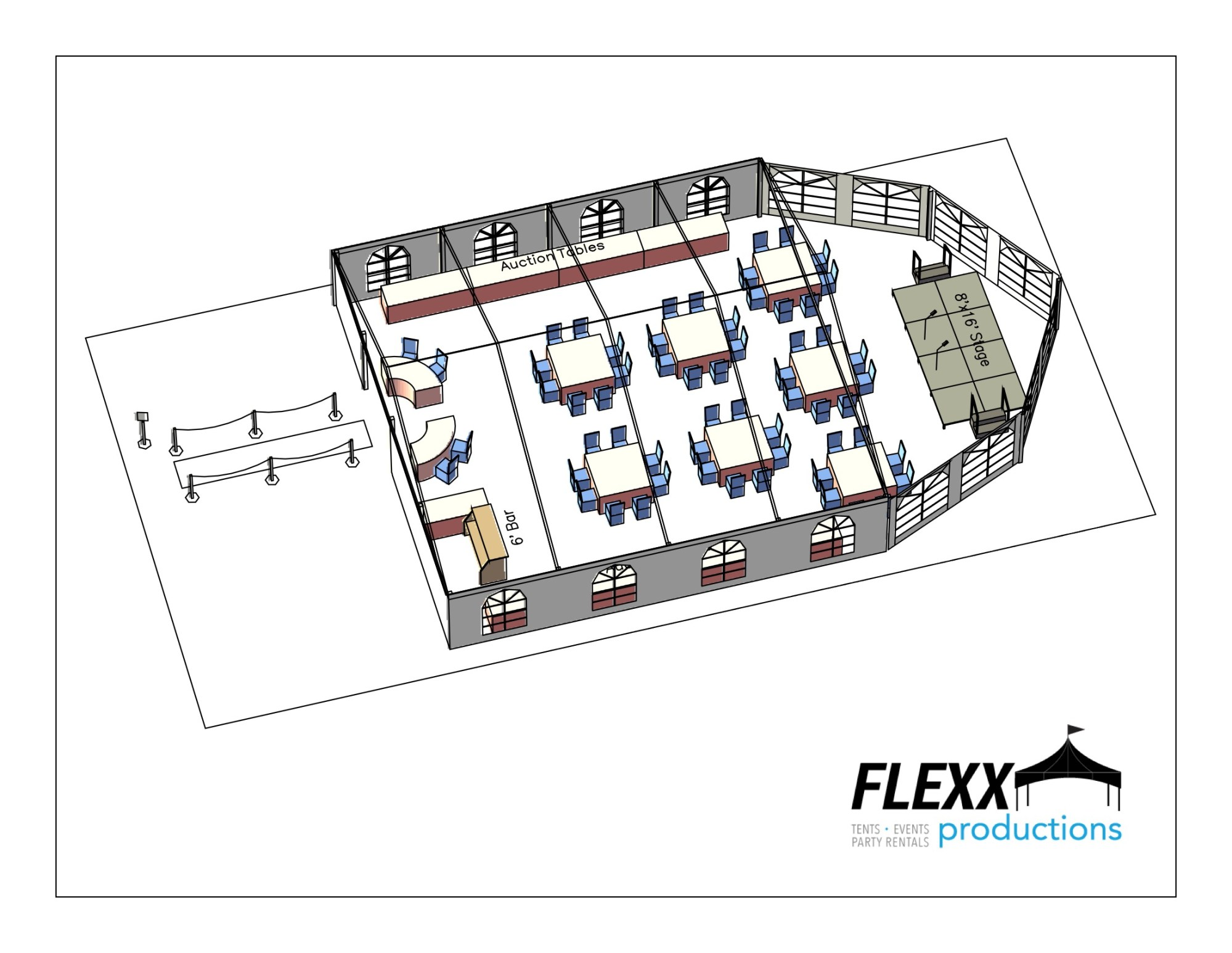 hight resolution of 40x40 flexx productions clearspan tent layout
