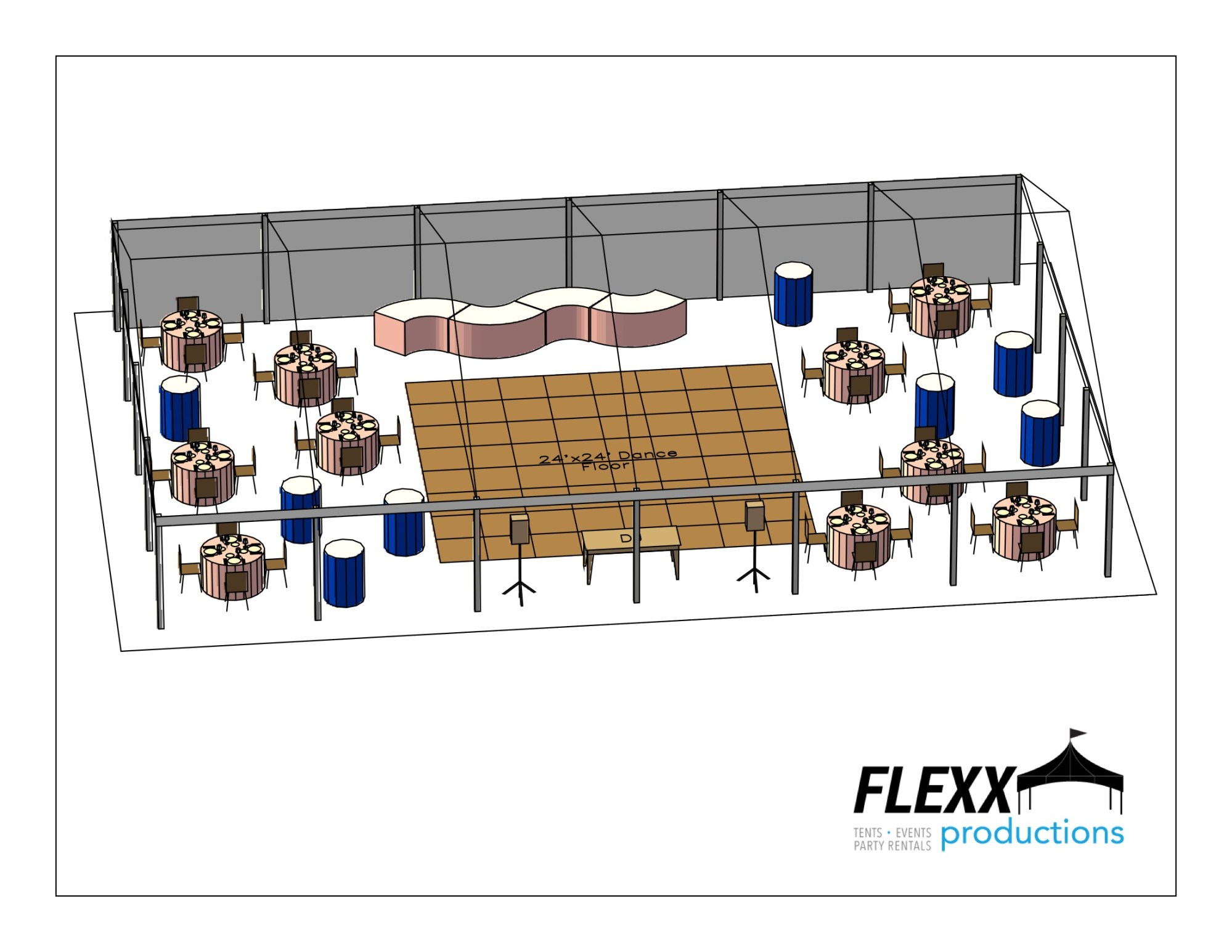 hight resolution of 40x60 flexx productions clearspan tent layout