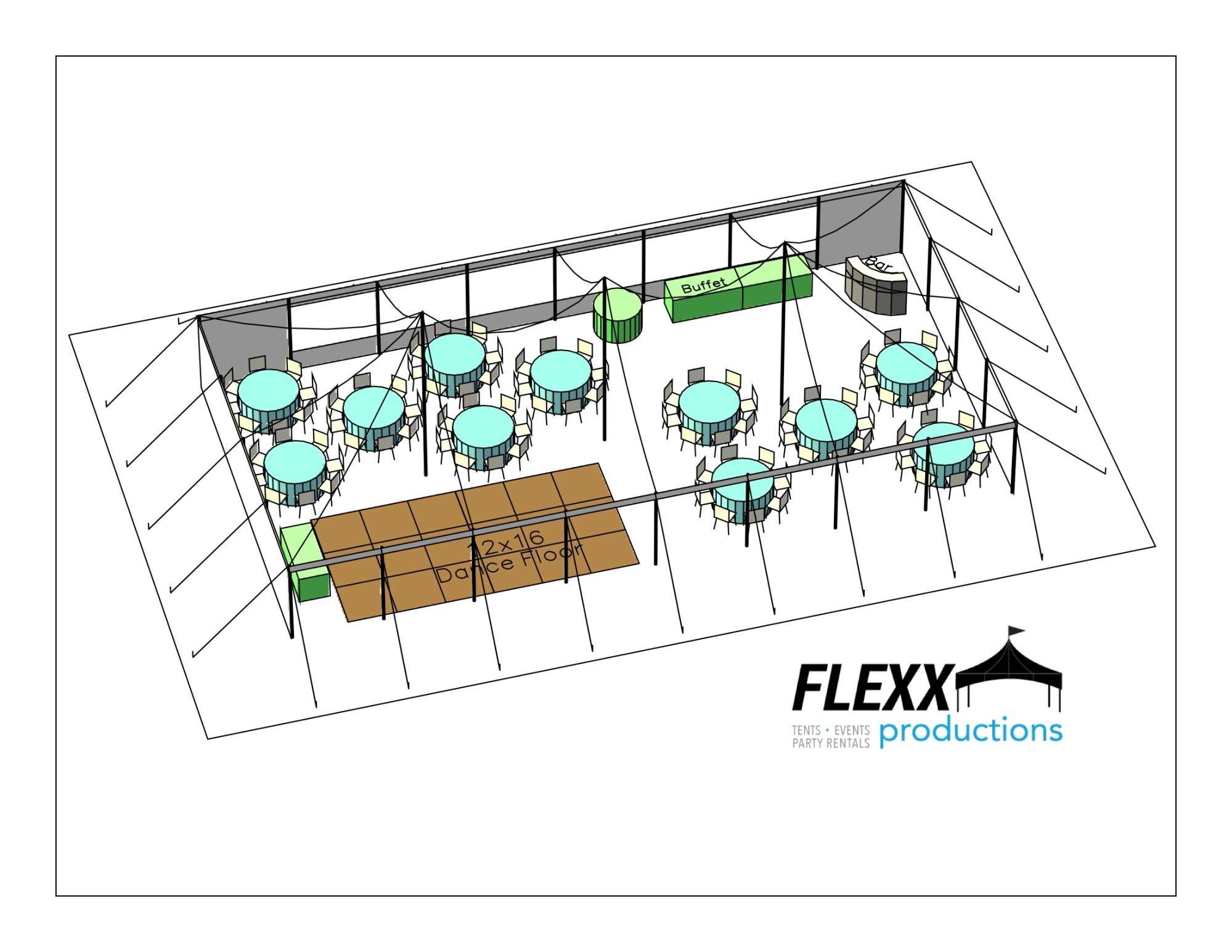 hight resolution of flexx productions pole tent layout