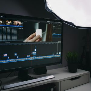 A computer screen with video editing software