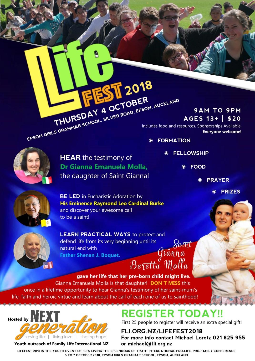 LifeFest 2018 Thursday 4 October Epsom Girls Grammar School