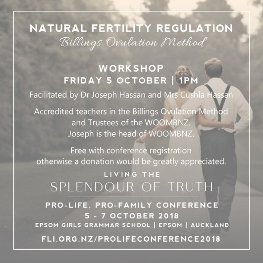 Natural Fertility Regulation Workshop Friday 5 October with Dr Joseph and Cushla Hassan