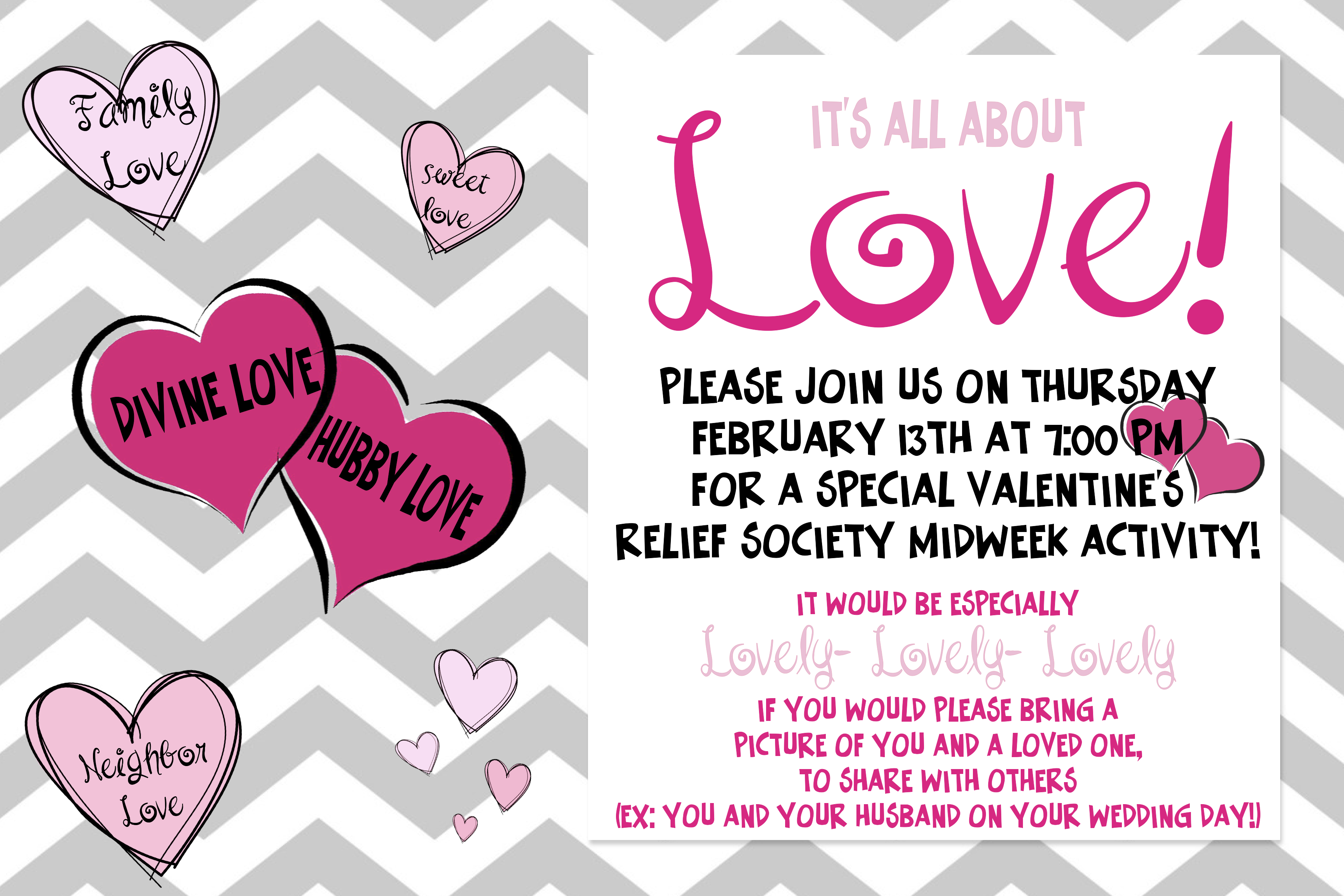 All About Love Feb Relief Society Mid Week Activity