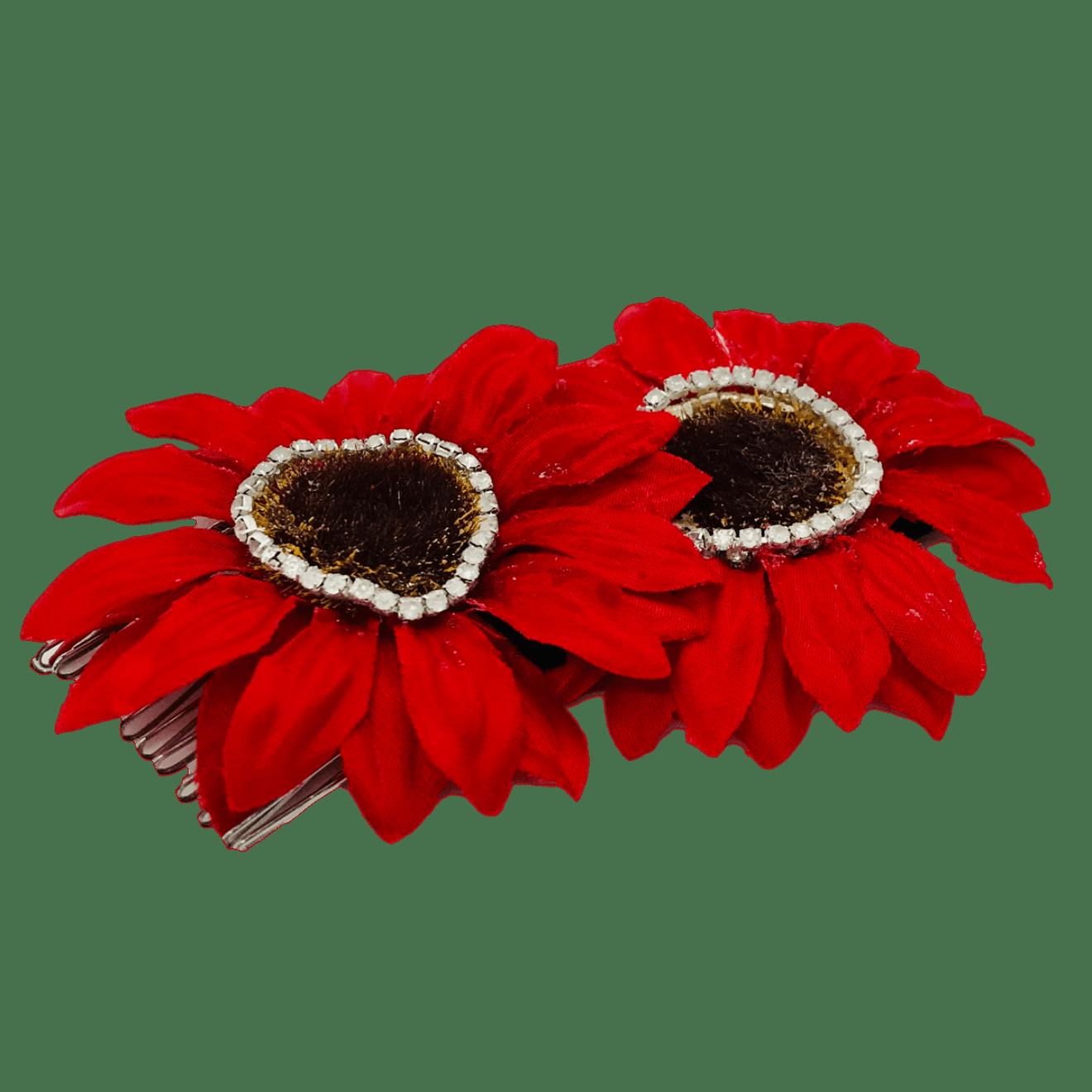 Red Flower petal Hair Combs