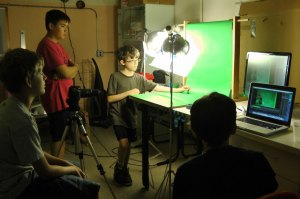 Animating Lego in front of a green screen