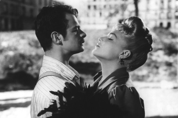 Georges Manda (left, actor Serge Reggiani) and Marie (right, actress Simone Signoret) in the movie Casque D'or. Courtesy of The Criterion Collection.