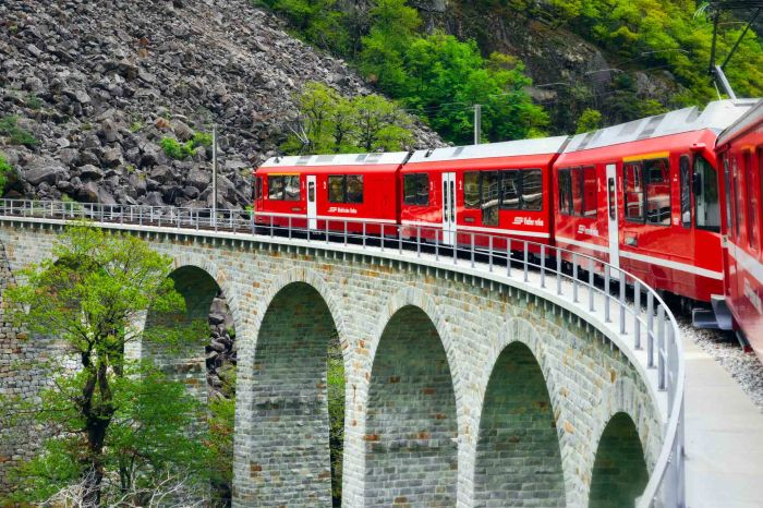 Bernina Express train over the aquaducts