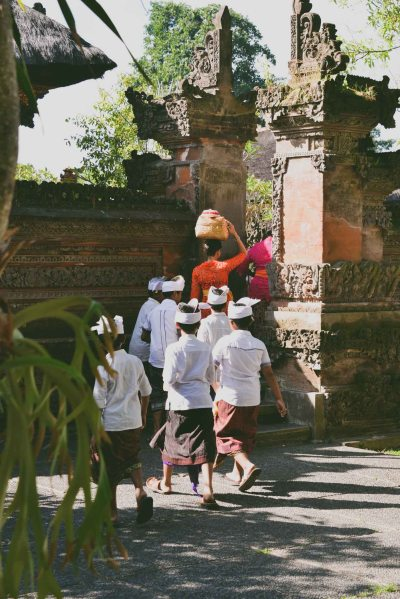 Balinese entering the temple to celebrate Galungan 2014 in Ubud, Bali