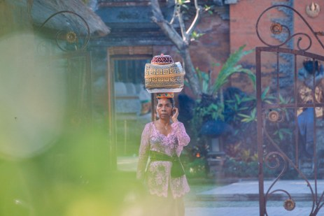 Balinese woman in festive attire while on cel phone on Galungan day