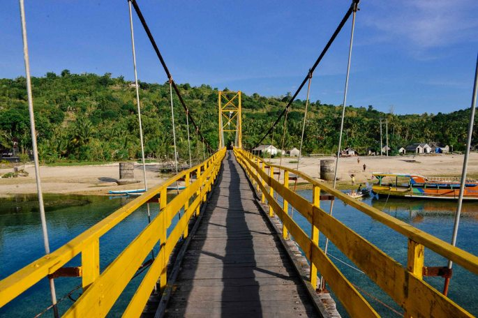 Yellow Suspension Bridge that connects Nusa Lembongan to Nusa Ceningan