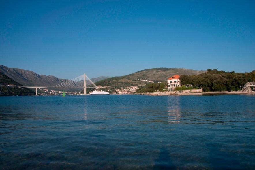 Looking at Dubrovnik Bridge from Copacobana Beach, swimming is sensational here!
