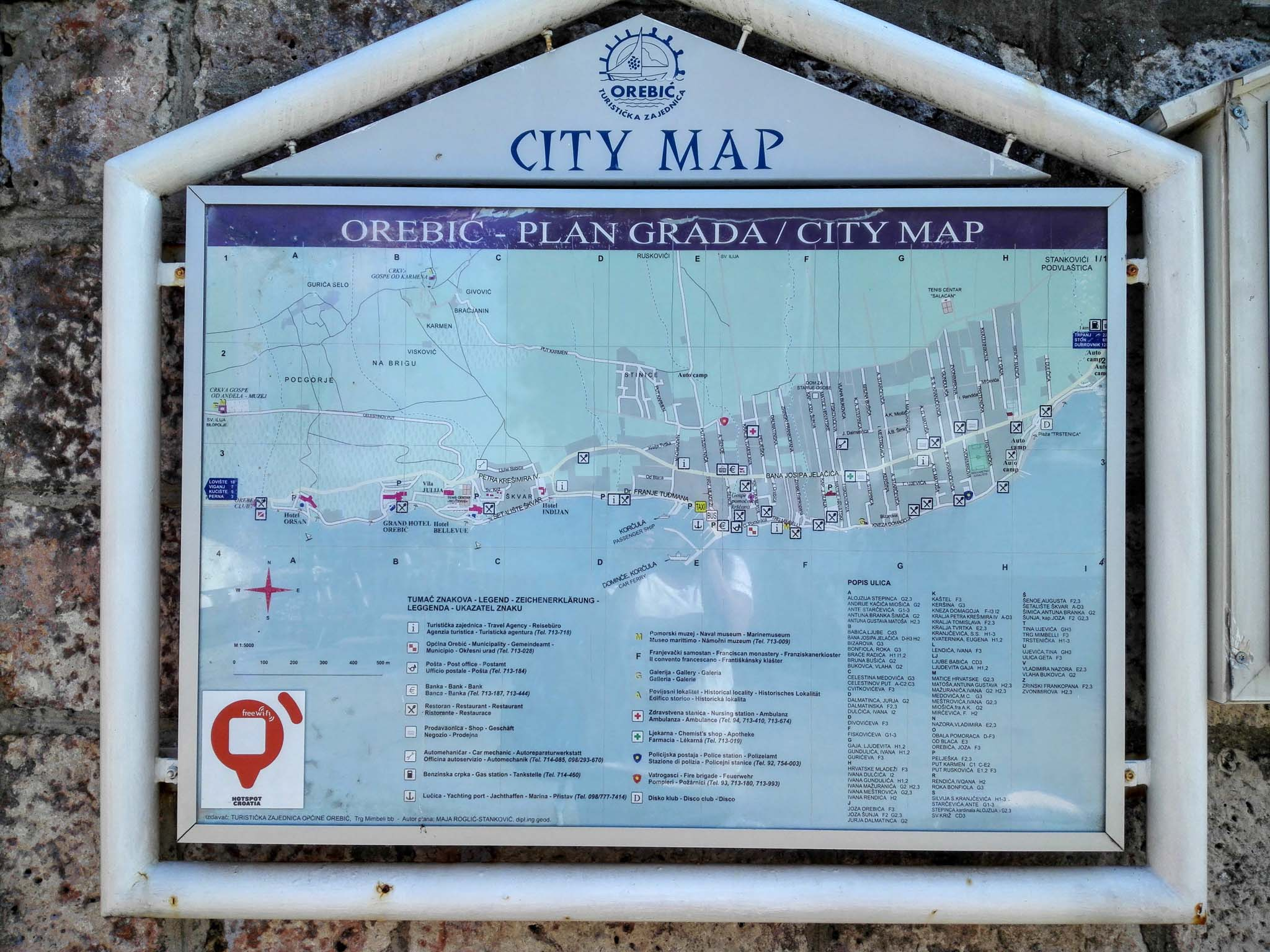 City Map of Orebic Waiting to board the Ferry to Korkula