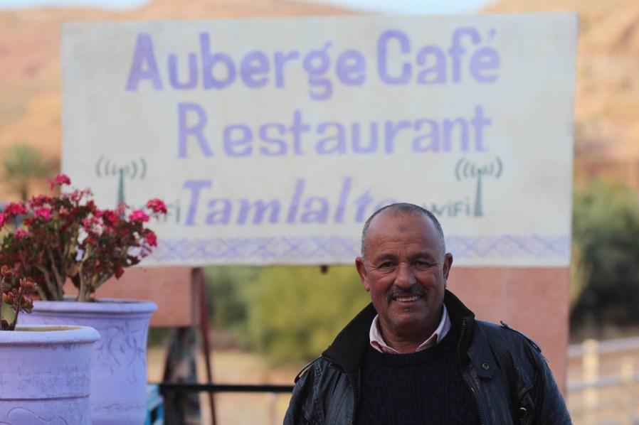 Hassan in front of Tamlalte Azaddou