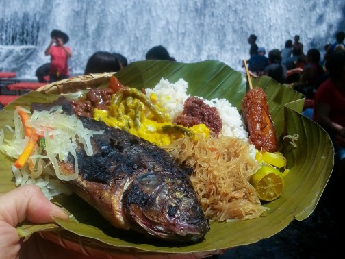 Eating by the waterfalls, Villa Escuedero Food Philippines