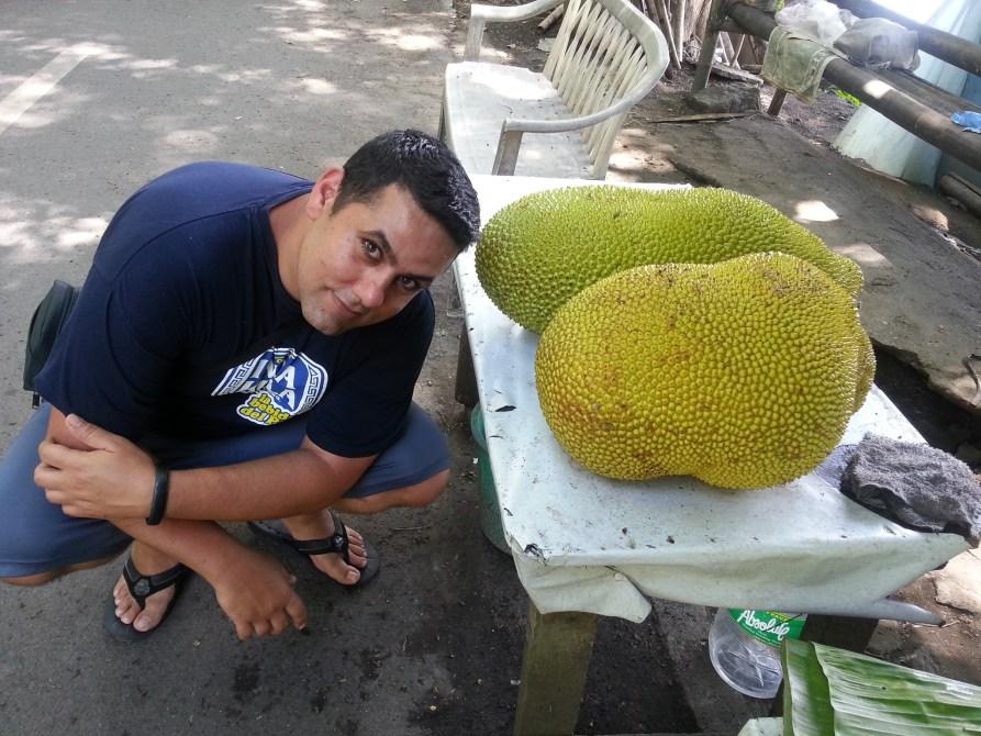 Abraham next to a huge langka (jackfruit)