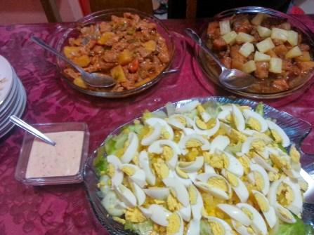 Kaldereta and Egg Salad