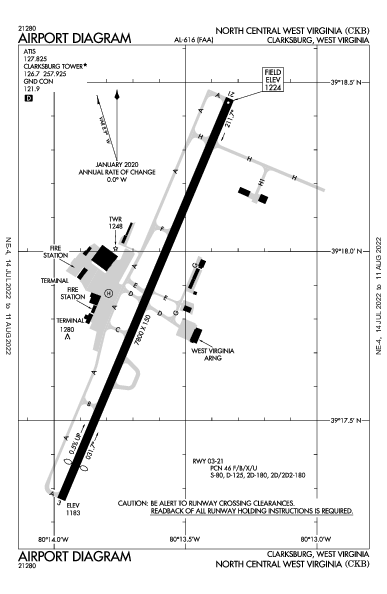 KCKB AIRPORT DIAGRAM (APD) FlightAware