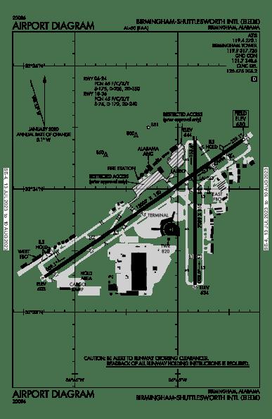 Birmingham-Shuttlesworth Intl Airport Map & Diagram