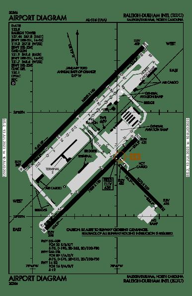 Raleigh-Durham Intl Airport Map & Diagram (Raleigh/Durham