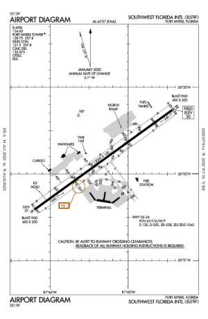 Southwest Florida Intl Airport Map & Diagram (Fort Myers