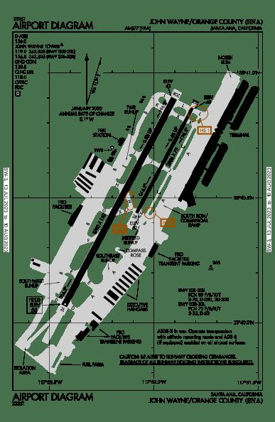 John Wayne Airport Map & Diagram (Santa Ana, CA) [KSNA/SNA