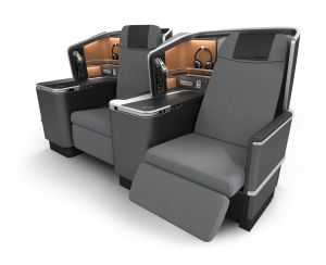 The SAS Business Seat for the airline's new cabins keeps design lines simple but focuses on passenger's basic needs: comfort, entertainment, and a good night's sleep