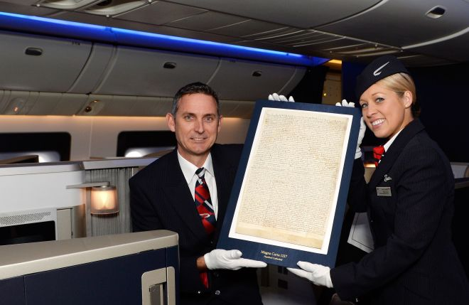 Magna Carta Flies First Class to New York on British Airways as part of world tour.