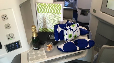 Marimekko amenities in the Finnair A350 Business cabin./FCMedia