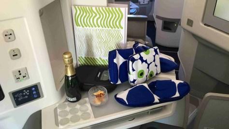 Marimekko amenities in the Finnair A350 Business cabin./FCMedia