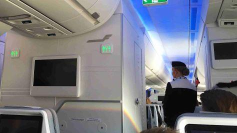 Inflight on the Finnair A350 headed for Helsinki, with Aurora Borealis light show on display./FCMedia