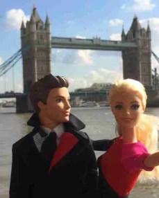 Barbie and Ken at London Bridge, Wearing Qantas New Uniforms/Qantas