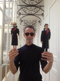 Designer Martin Grant with Barbie and Ken in New Qantas Uniforms/Qantas