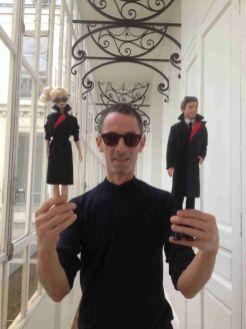 Designer Martin Grant with Barbie and Ken in New Qantas Uniforms/Qantas
