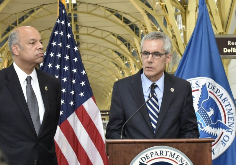 Photo: U.S. Department of Homeland Security Secretary Jeh Johnson and TSA Administrator Peter Neffenger address summer travel at Ronald Reagan Washington National Airport in Arlington, Va., Friday, May 13, 2016.