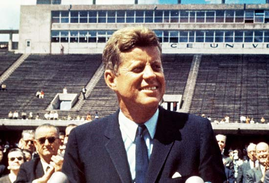 President John F. Kennedy speaking at Rice University, Public Domain