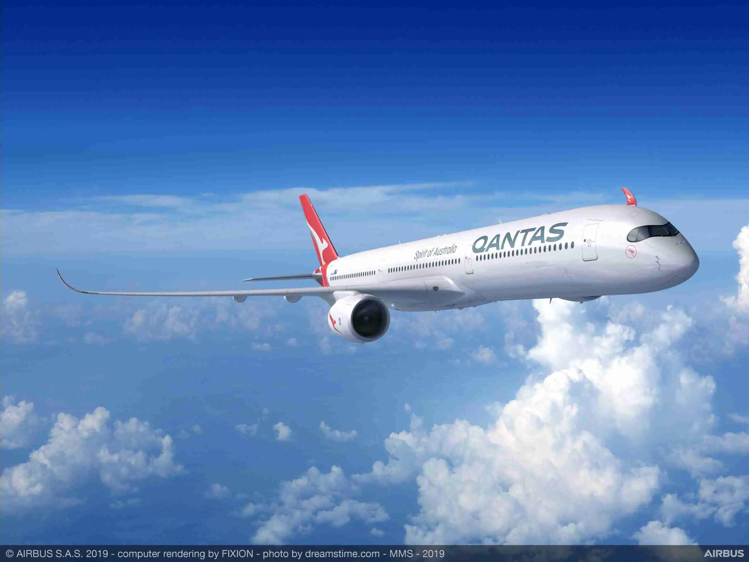 Rendering of Qantas' Airbus A350-1000