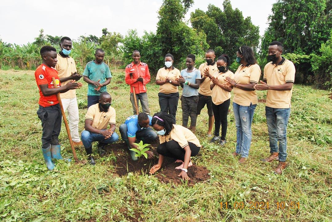 The FFP team launches the initiative at Mr. Ssemwanga's farm in Nakaseke, Central Uganda