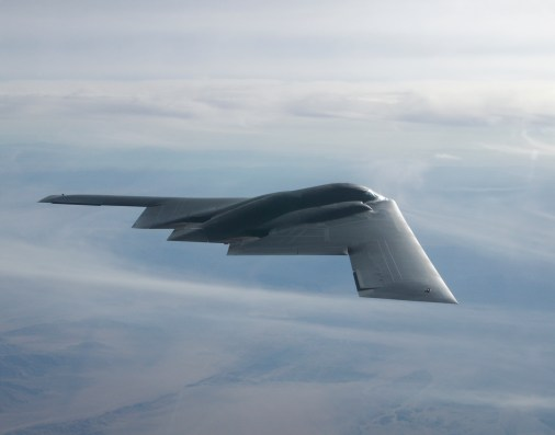 B-2 enroute to Utah Test Range for a 32 JDAM weapons separations test. // Bobbi Garcia