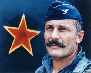 Legendary ace pilot Brig. Gen. Robin Olds (here shown as a colonel) inspired Mustache March with his trademark handlebar. (US Air Force)