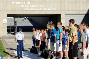 Cadet 1st Class Carter Post of Cadet Squadron 7 addresses the Class of 2018 after they arrive at the cadet area. (Sarah Chambers / Air Force Academy)