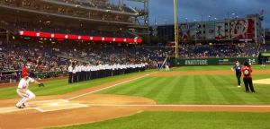 Air Force Sec. Deborah Lee James throws out the first pitch at the Washington Nationals doubleheader Sept. 25, 2014. (From James' official Facebook page)