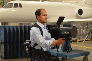The handheld imaging tool weighs 18 pounds and can scan a portion of a plane in minutes instead of hours.  (Courtesy photo/Sensor Concepts Inc.)