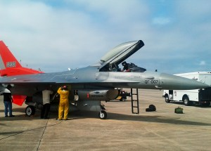 Maintainers begin post-flight checks on the first Lot 1 production model QF-16 after it arrived at Tyndall Air Force Base, Fla., March 11. (Air Force photo)