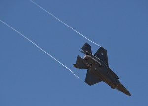 An F-35A Lightning II aircraft from Luke Air Force Base, Arizona, breaks hard left trailing wingtip vortexes behind as it arrives at Hill Air Force Base, Utah where it will be seen on static display during the 34th Fighter Squadron's activation ceremony held July 17 at Hill AFB. The 34th will be the first combat squadron to fly the Air Force's newest fighter aircraft, the F-35A. The squadron has an extremely rich history. (U.S. Air Force photo by Alex R. Lloyd/Released)