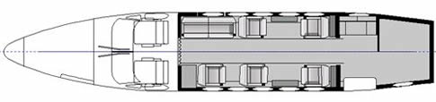 San Diego King Air 200 interior seating layout