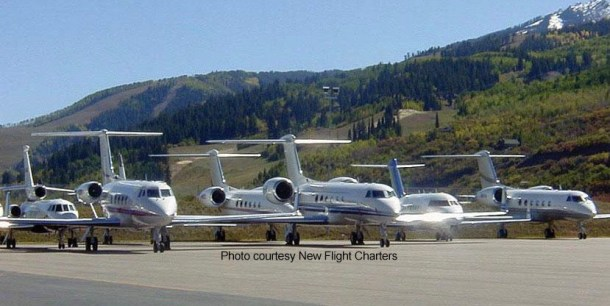 Large-cabin Gulfstream, Challenger and Falcon jets on the ramp at Aspen-Pitkin County Airport in Colorado. The number of flight hours in large-cabin jets operated under Part 135 grew by 10 percent in 2016 according to industry data provider Argus.  (Photo credit: New Flight Charters)