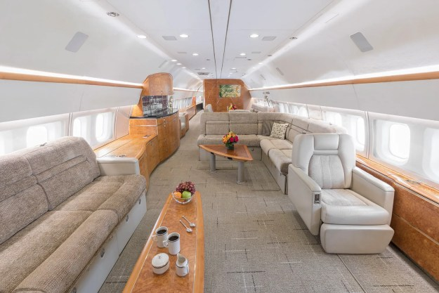 Boeing Business Jet cabin, operated by Silver Air with unrestricted availability.