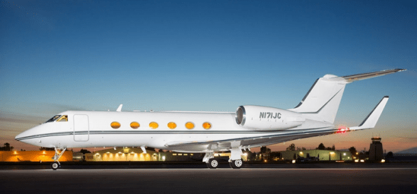 Floating Gulfstream IV-SP operated by Global Air Charter with one-way pricing.