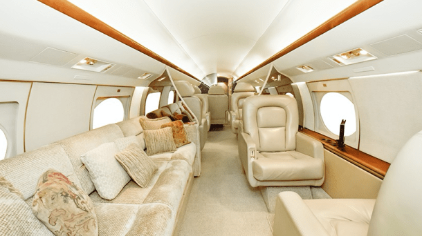 12-passenger cabin of Global Air Charter's Gulfstream IV, now floating with one-way charter pricing.