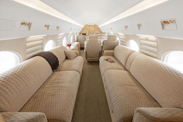 16-passenger cabin of the floating fleet Gulfstream IV-SP operated by Global Air Charter.